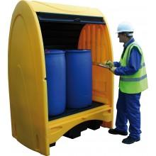 Box de stockage PE pour 2 fûts - volume 250 l