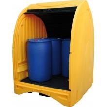 Box de stockage PE pour 4 fûts - volume 485 l