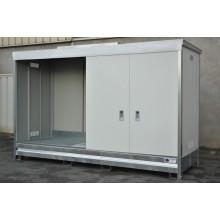 Armoire ECOPACK avec porte grande hauteur pour 3 cubi de 1000 l ou 8 fûts de 220 l