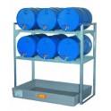 Rayonnage rétention 150 l pour stockage de 6 fûts de 60 l horizontaux 1/1